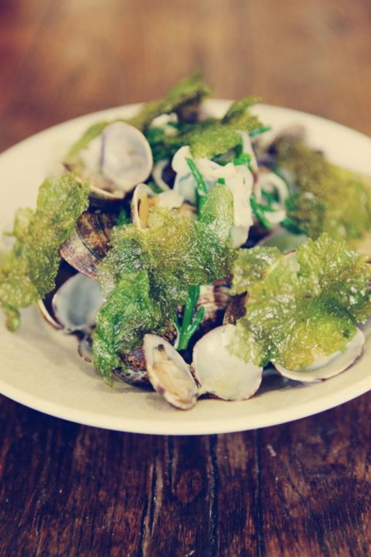 Steamed Dorset Clams W Foraged Sea Vegetbles Crispy Sea Lettuce