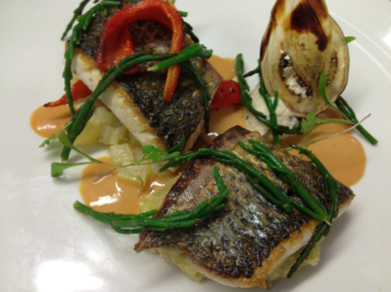Roast mullet, crab mayonnaise & vinagerette, charred peppers & aubergine