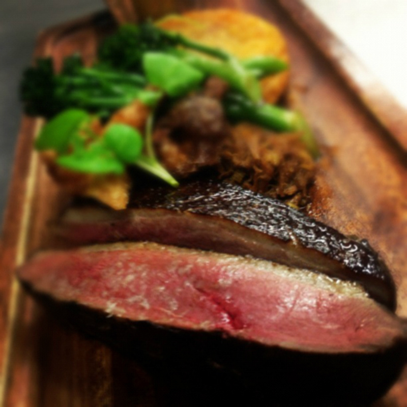 smoked duck,charred broccoli confit duck, scratching & hash
