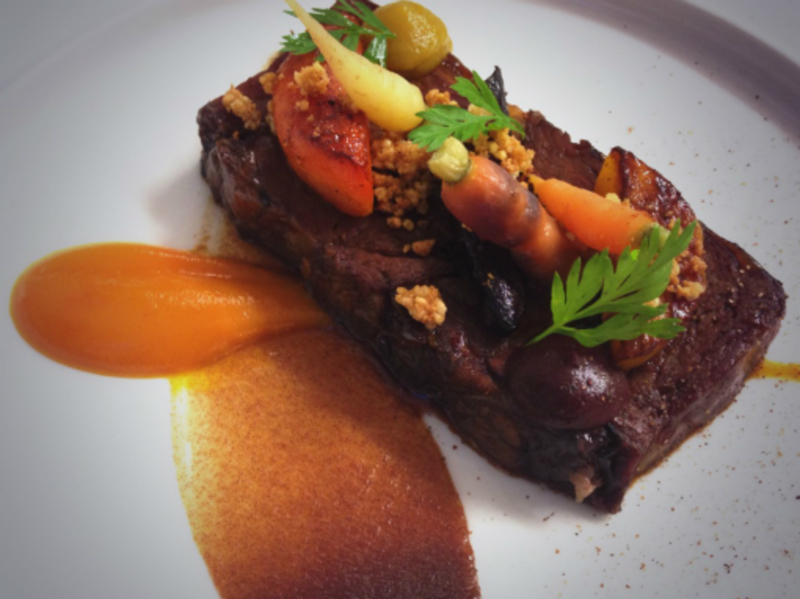 72 hour rib of beef, roast carrots & spiced date puree