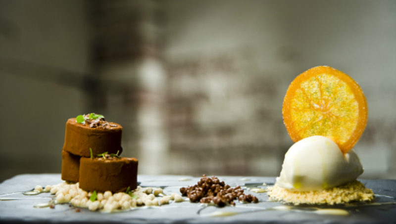 Chocolate Brown Butter Pave Orange Chocolate Soil Confiture De Lait White Chocolate Sorbet 2