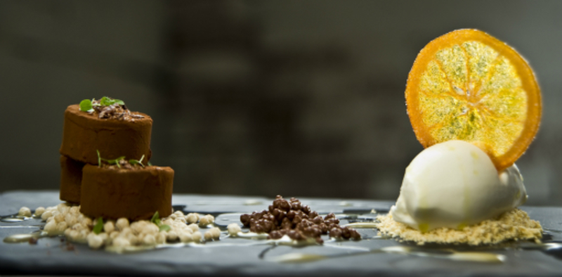 Chocolate Brown Butter Pave Orange Chocolate Soil Confiture De Lait White Chocolate Sorbet 3