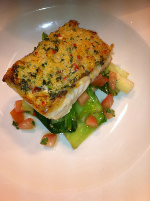 Pan Fried Hake With An Asian Crab Crust Wilted Pok Choi