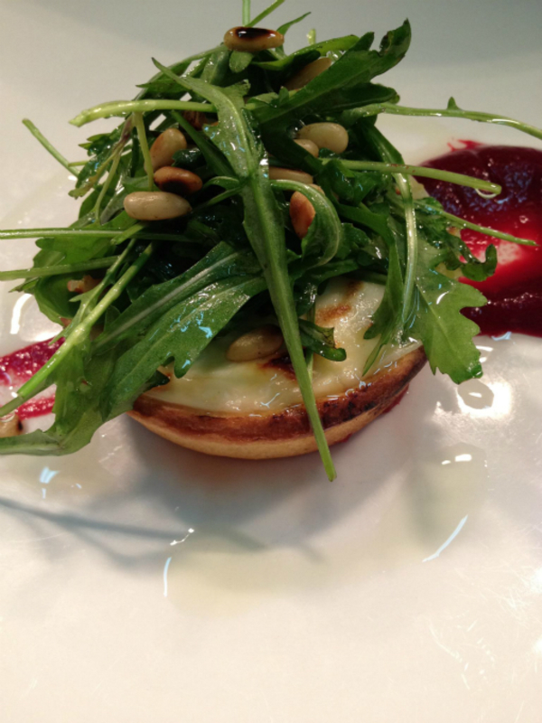 St Tola S Organic Goats Cheese Tartlet With Mc Cormack S Baby Rocket Beetroot Pur E Toasted Pine Nuts