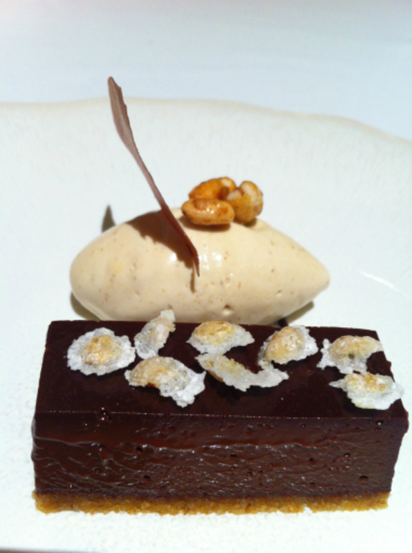 chocolate tart, sugar puffs ice cream