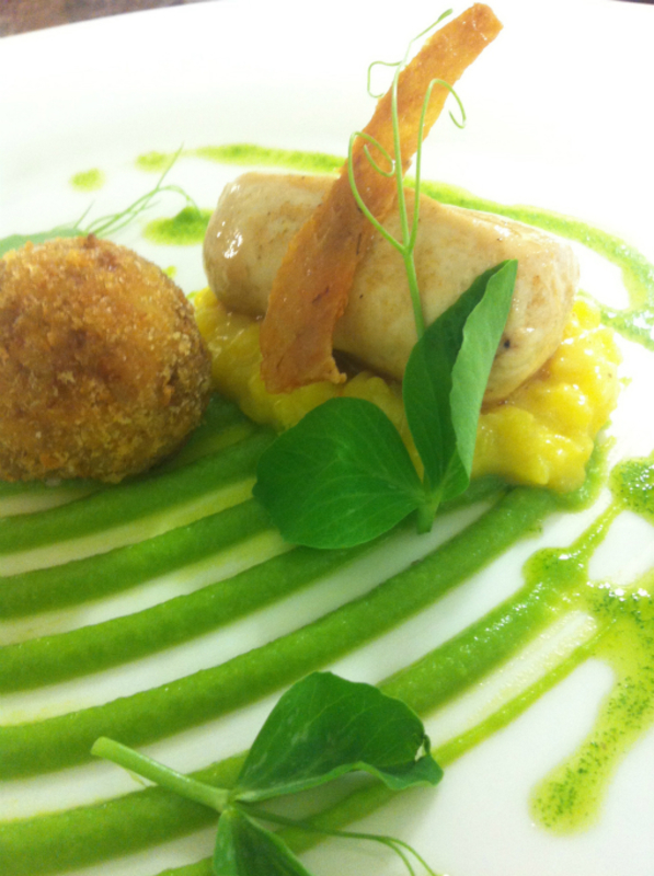 Steamed chicken boudin,crispy skin, leg croquette,pea puree,saffron rissotto, mint oil