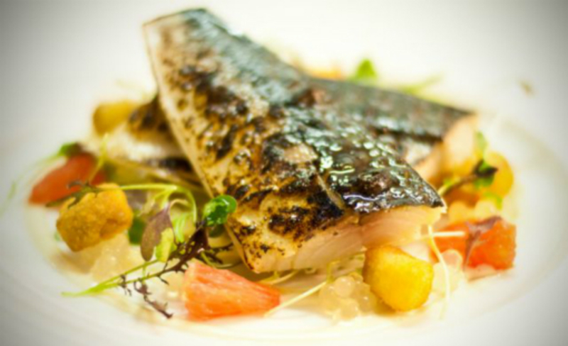 Flame Grilled Cornish Mackerel Pink Grapefruit Smoked Eel
