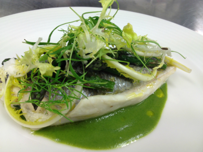 bream stuffed with scallop & wild garlic, asparagus & dandelion