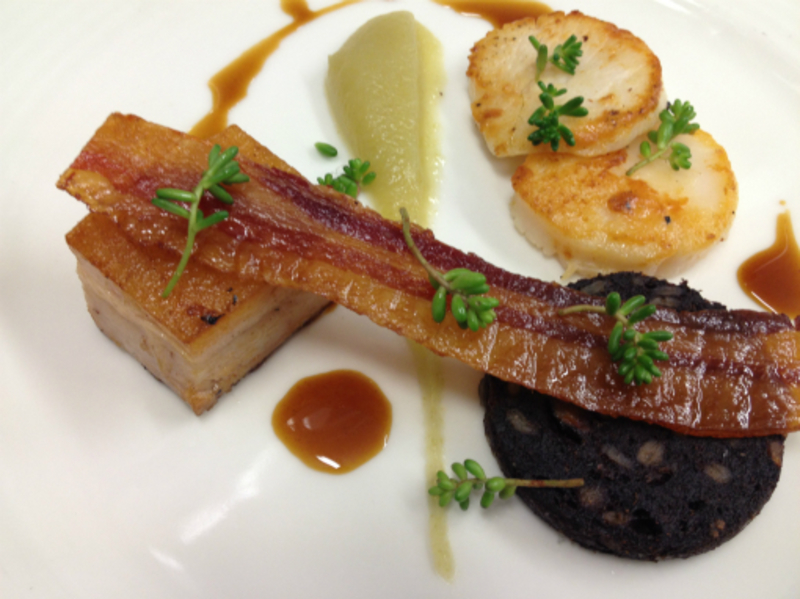 pan fried scallop, pork belly, black pudding & bacon