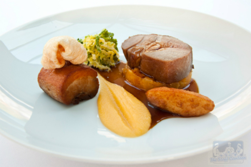 Confit Pork Belly Slow Roast Neck Swede And Honey Pur E Cabbage Pommes Dauphine Madeira Sauce