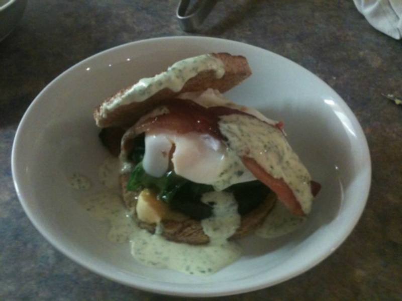 Eggs Florentine ( with maple syrup bacon ).