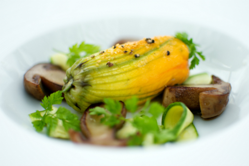 Courgette Flower Stuffed With Iberico Pork Baby Squid Farcie Roasted Ceps Fresh Almond And Cep Veloute