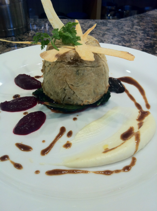 steamed beef,wild mushroom and thyme suet pudding, parsnip puree and crisps