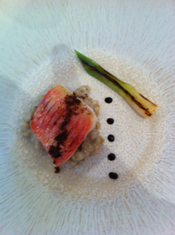 2nd Course Red Mullet Pearl Barley Risotto Mushroom Soil Charred Sping Onion 2