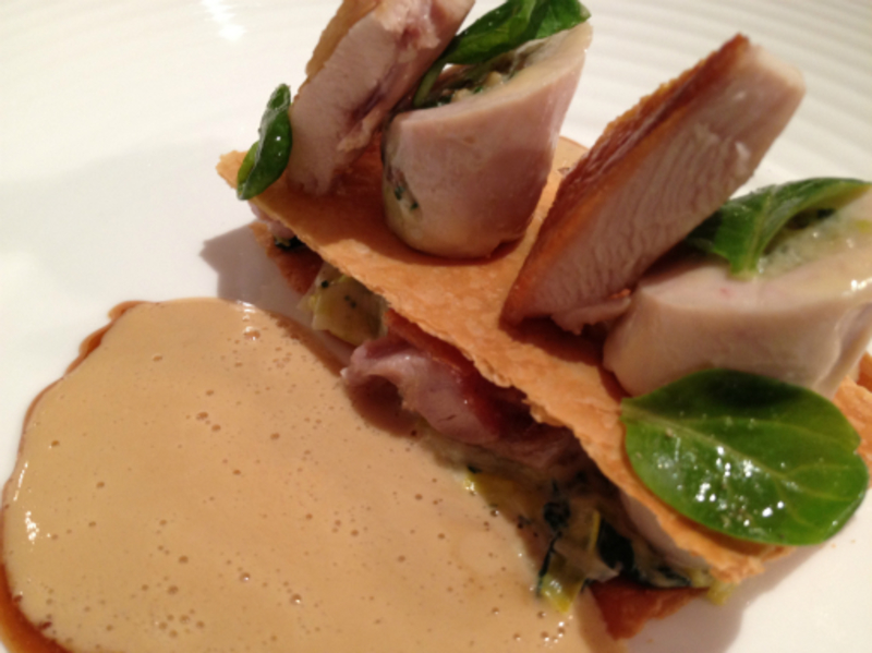 ballontine of poussin, millefeuille, albufera sauce