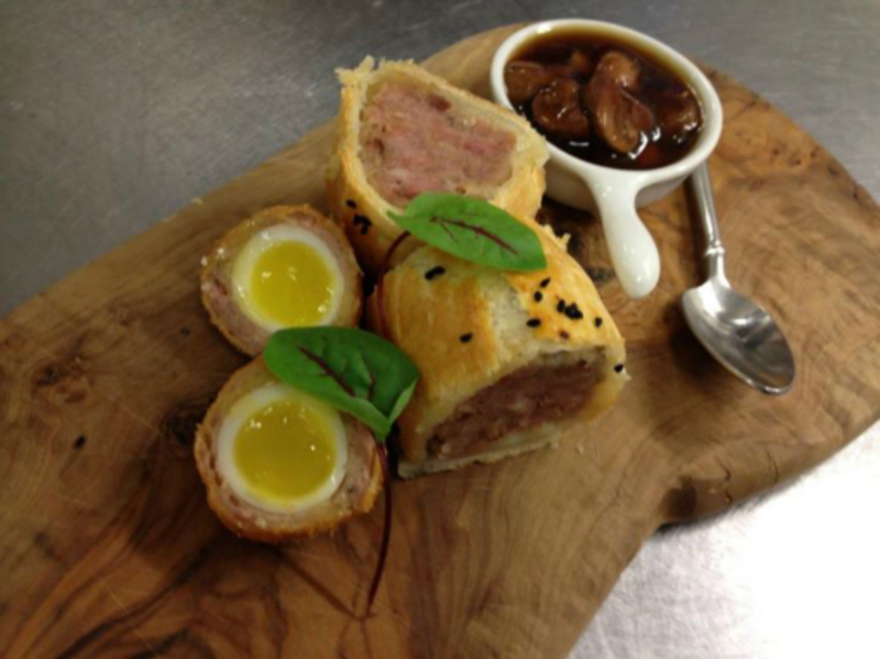 Partridge Sausage Roll Mushroom Ketchup Scotch Egg