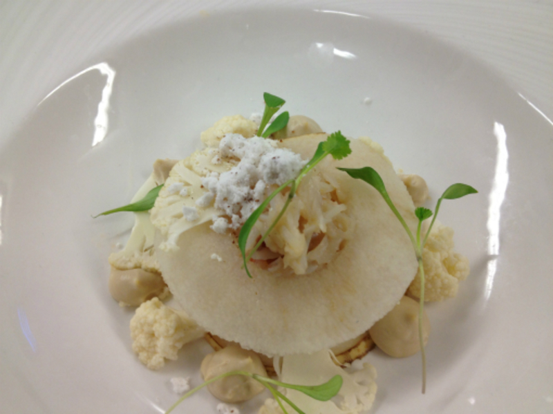 crab, nashi pear, pickled cauliflower, cauliflower cream cumin powder