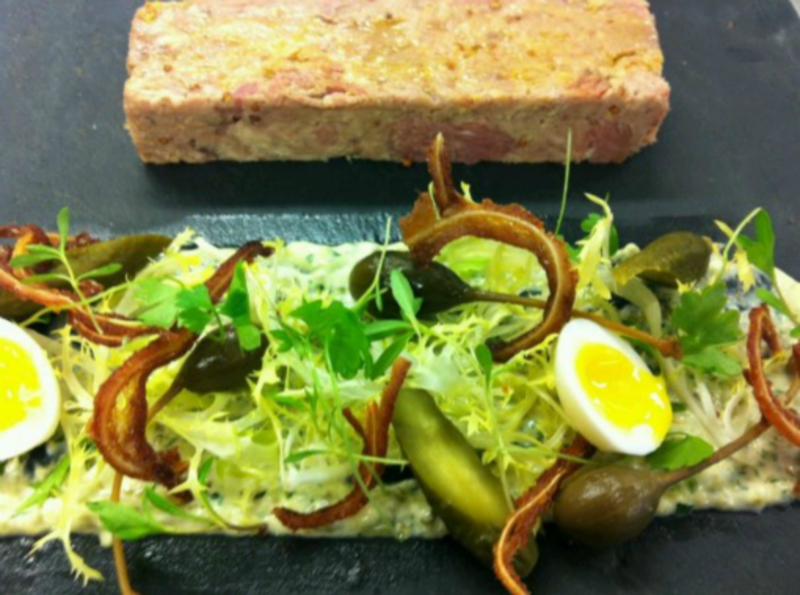 pigs head terrine sauce gribiche
