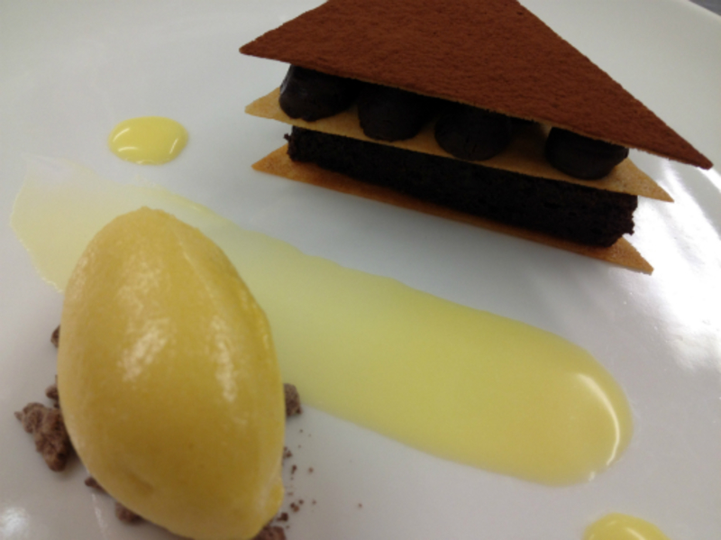 warm chocolate cake, passion fruit sorbet