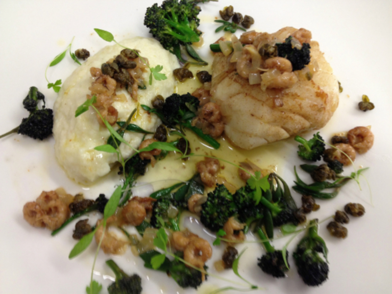 butter roasted cod, brandade, smoked shrimp, purslane & purple broccoli