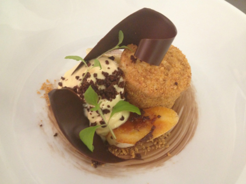 banana parfait, peanut mousse & chocolate
