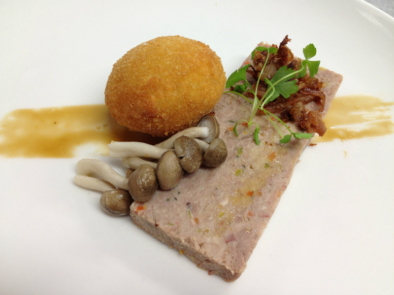 duck terrine, crispy egg yolk, scratchings & pickled mushrooms