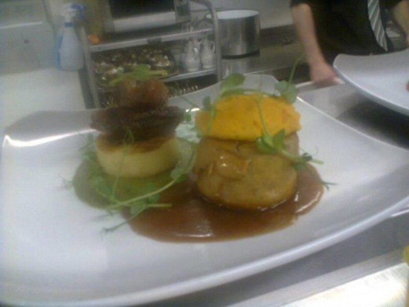 Roast Lamb Rump Fondant Potato Chervil Cream Kidney Pudding Carrot And Swede Puree Red Currant Jus
