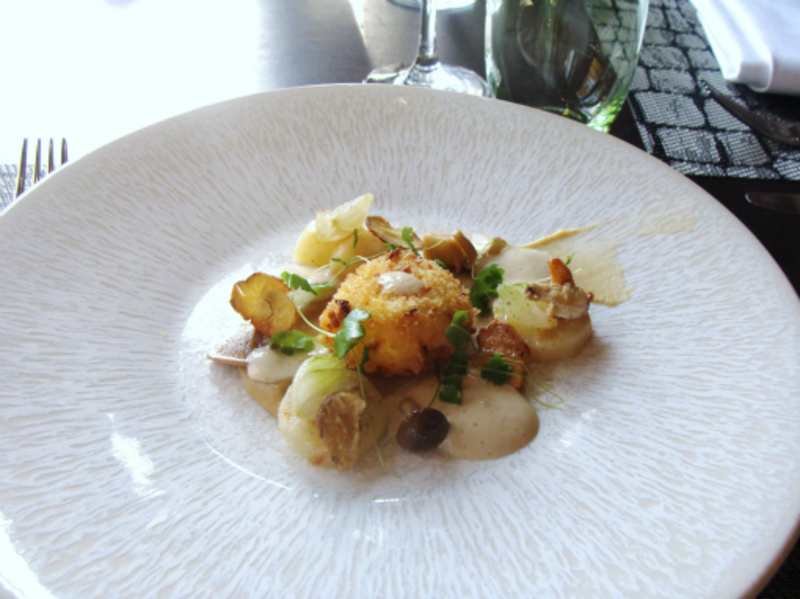 Crispy egg, celeriac, chestnuts and hay