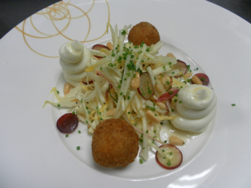 Salad Of Goats Cheese Celeriac And Grapes 001