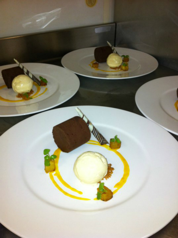 Chocolate Fondant Basil Ice Cream Mango