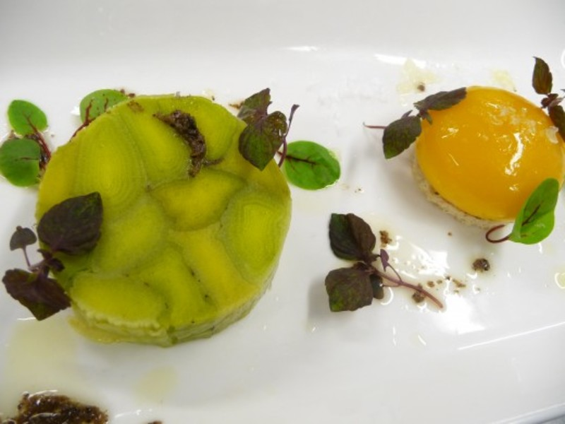 Leek Terrine Confit Smoked Yolk Walnut Truffle Dressing