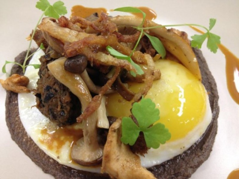 Fried Duck Egg Duck Confit Scratchings And Mushrooms 2