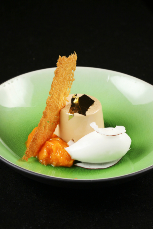 Chai Pannacotta Mango Compote And Coconut Sorbet
