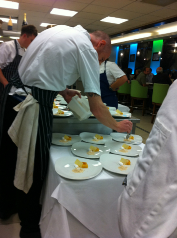 plating the lemon dessert course