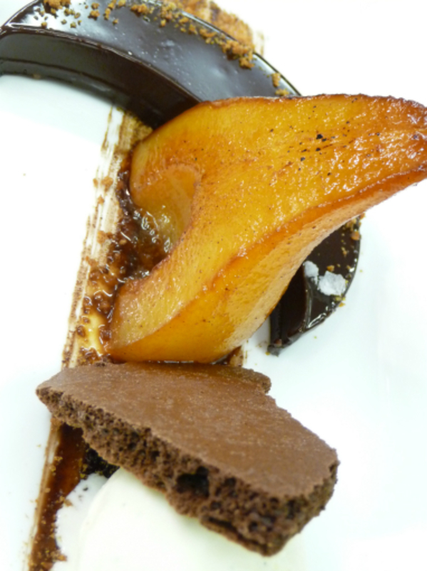 Poached Pear Ganache Dried Chocolate Mousse