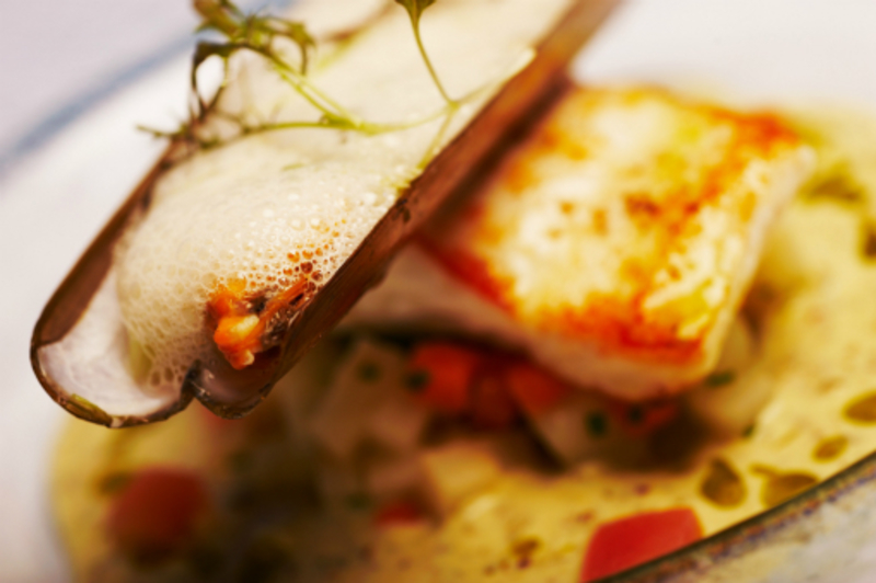 Gigha Halibut Warm Potato Salad Stuffed Razor Clam Laverbread Vermouth Foam