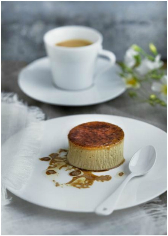 TONKA BEAN CREME BRULEE WITH HAZELNUT OIL AND COFFEE by Phil Howard