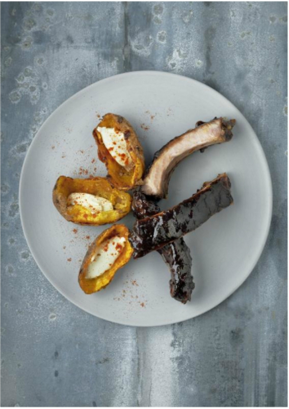 SPARE RIBS WITH GINGER, HONEY, GRAPEFRUIT, SOY AND COFFEE by Phil Howard