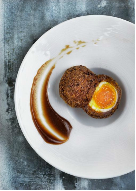 SMOKED VENISON SCOTCH EGG WITH ESPRESSO BROWN SAUCE by Phil Howard