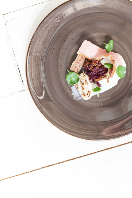 Lamb saddle, shoulder and belly, fermented cabbage, yoghurt, celeriac by Paul Foster