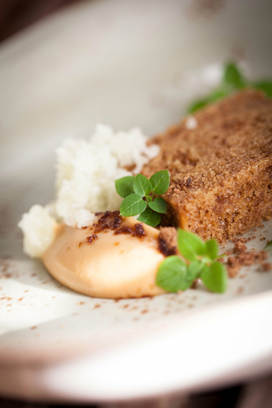 Parsnip cake, celery ice, parsnip toffee by Paul Foster