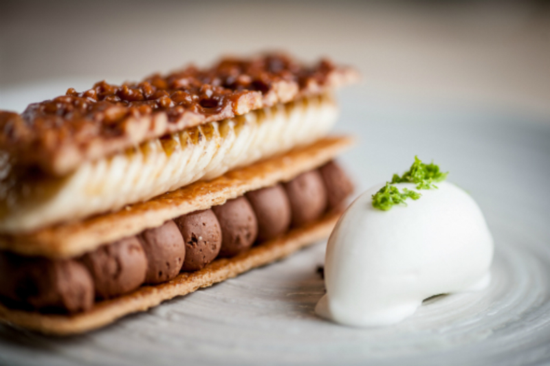 Banana cocoa slice ~ peanut pastry ~ yoghurt and lime sorbet by Paul Ainsworth