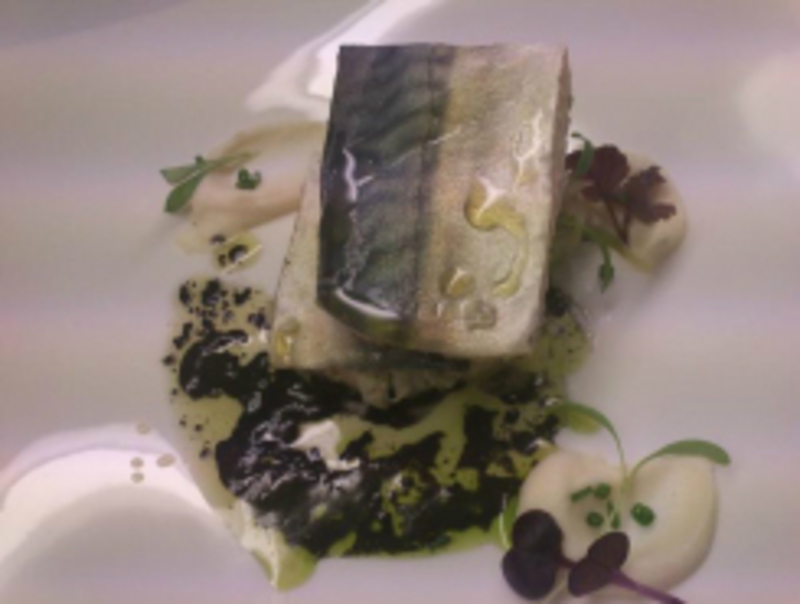 MACKEREL WITH GREEN AND BLACK SAUCE