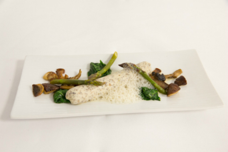 Boudin of Goosnargh Corn-fed Chicken, Richard Wilding Asparagus, wild mushrooms, morel & white wine sauce