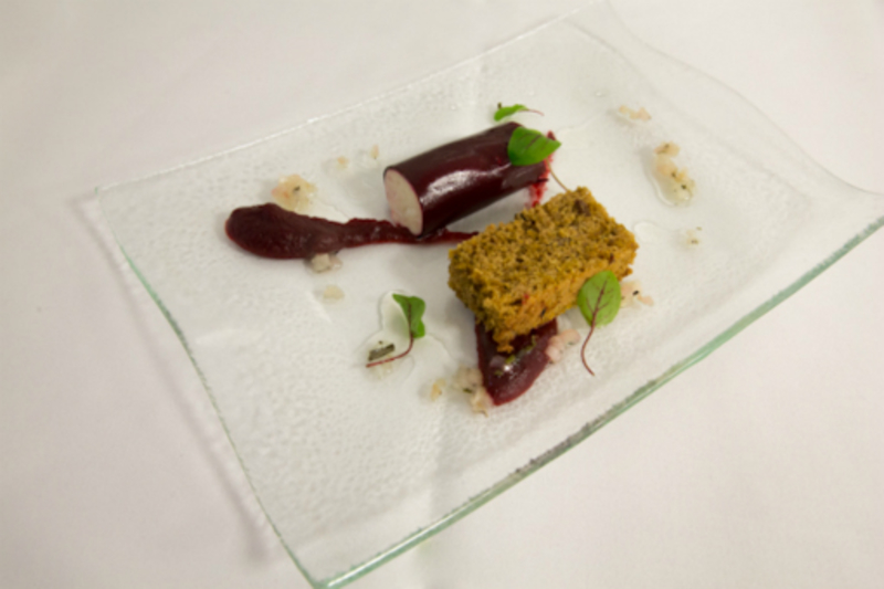 Savoury beetroot cake served with Delamere dairies goats cheese and beetroot cannelloni