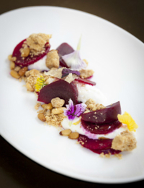 Marinated beetroot salad, honeycomb burrata, pinenut crumble