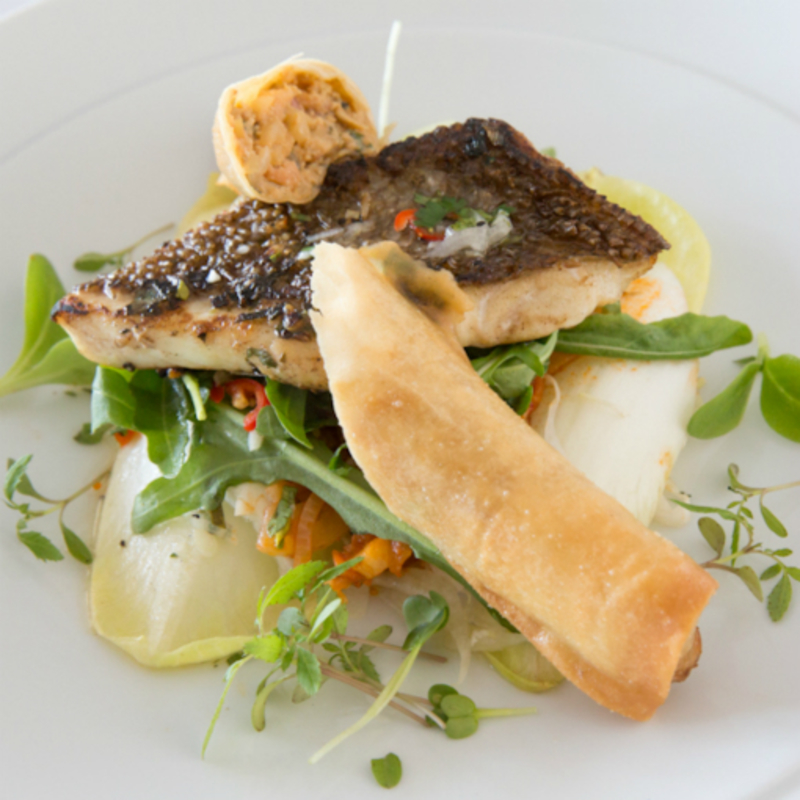 Fillet of Fylde Coast Brill with chilli, Brown crab and Morecombe Bay Shrimp crispy rolls