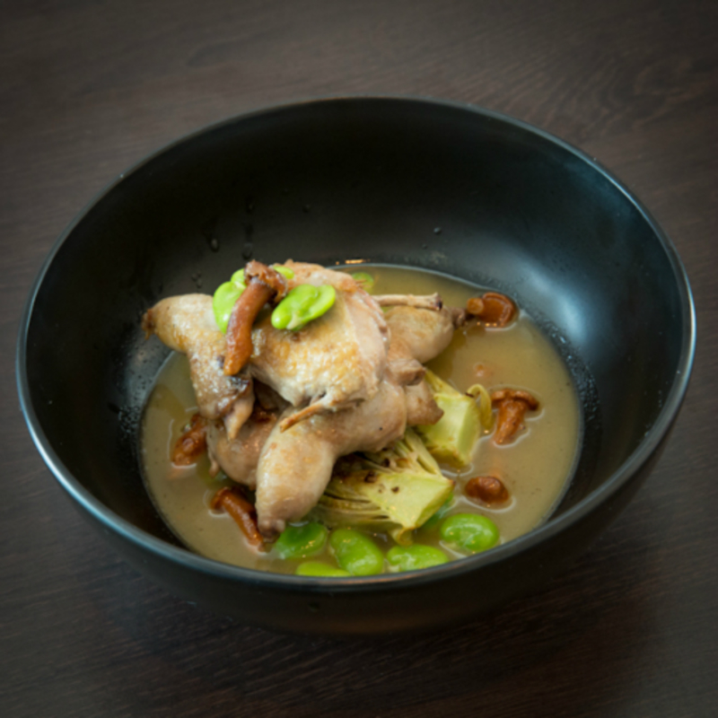 Pan seared Quail, braised Lancashire Gem Lettuce, Broad Bean and Girolle fricasse.