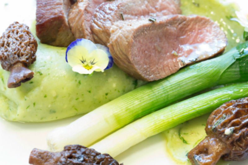 Cumbrian loin of lamb, hand picked wild garlic mash, morels, baby leeks, anchovy & rosemary butter