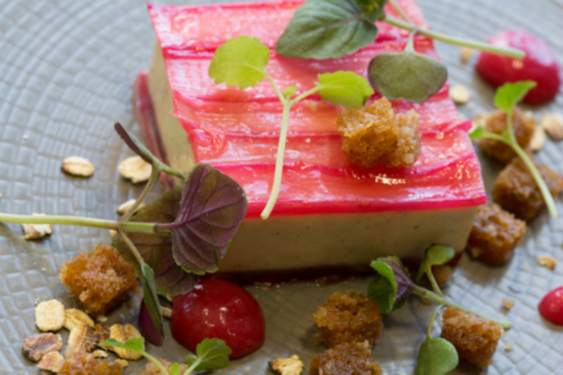 Field Rhubarb with Meadowsweet Cream, Gingerbread Crumble